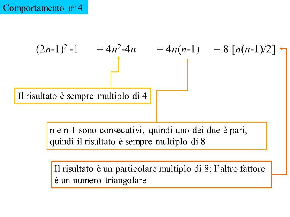 (2n-1)2 -1 = 4n2-4n = 4n(n-1) = 8 [n(n-1)/2] Comportamento no 4